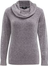 Cowl Neck Long Sleeve Chenille Top Grey - Gallery Image 3