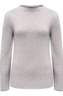 Lightweight Knitted Turtle Neck Top - Grey Marl
