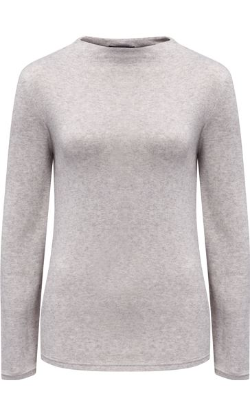 Lightweight Knitted Turtle Neck Top Grey Marl