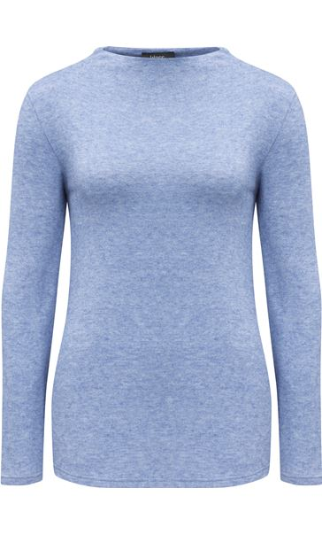 Lightweight Knitted Turtle Neck Top Ocean Blue