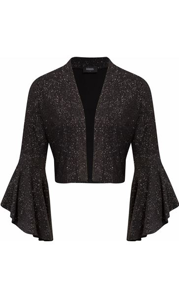 Bell Sleeve Sparkle Open Cover Up Black/Silver
