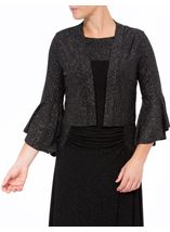 Bell Sleeve Sparkle Open Cover Up Black/Silver - Gallery Image 2