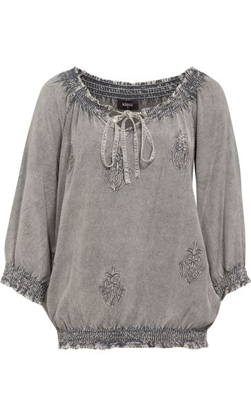 Embroidered Washed Top Grey
