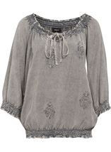 Embroidered Washed Top Grey - Gallery Image 1