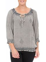 Embroidered Washed Top Grey - Gallery Image 2
