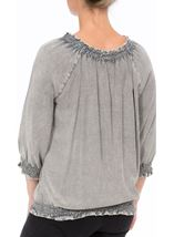 Embroidered Washed Top Grey - Gallery Image 3