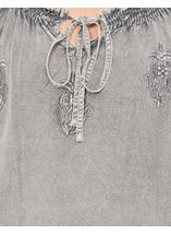 Embroidered Washed Top Grey - Gallery Image 4