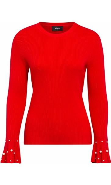 Embellished Knitted Long Sleeve Top Red