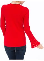 Embellished Knitted Long Sleeve Top Red - Gallery Image 3