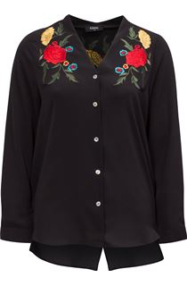 Embroidered Split Back Blouse