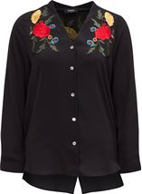 Embroidered Split Back Blouse Black - Gallery Image 1