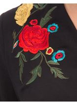 Embroidered Split Back Blouse Black - Gallery Image 4