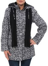 Anna Rose Printed Coat With Scarf Black/White - Gallery Image 1