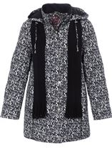 Anna Rose Printed Coat With Scarf Black/White - Gallery Image 3