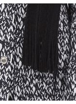 Anna Rose Printed Coat With Scarf Black/White - Gallery Image 4