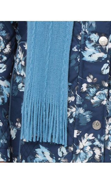 Anna Rose Floral Printed Coat With Scarf Blue Floral - Gallery Image 4