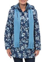 Anna Rose Floral Printed Coat With Scarf Blue Floral - Gallery Image 1