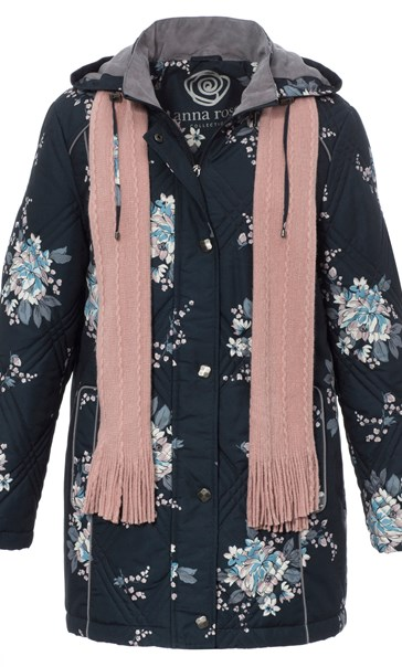 Anna Rose Floral Printed Coat With Scarf Ink Floral
