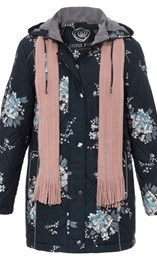 Anna Rose Floral Printed Coat With Scarf Ink Floral - Gallery Image 1