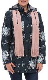 Anna Rose Floral Printed Coat With Scarf Ink Floral - Gallery Image 2