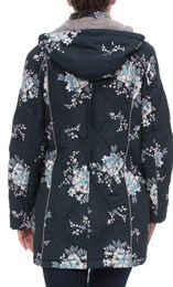 Anna Rose Floral Printed Coat With Scarf Ink Floral - Gallery Image 3