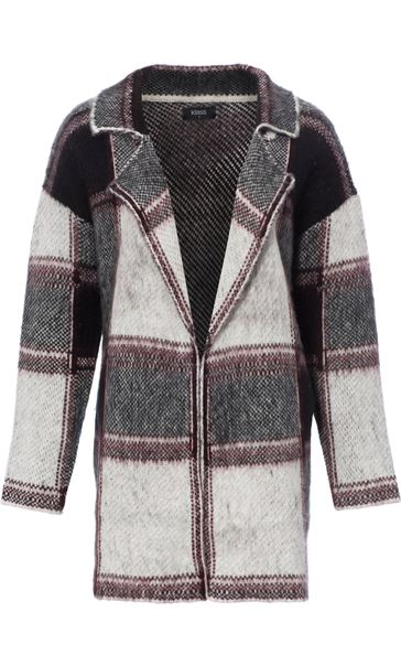 Brushed Knit Checked Open Cardigan Black/White - Gallery Image 2
