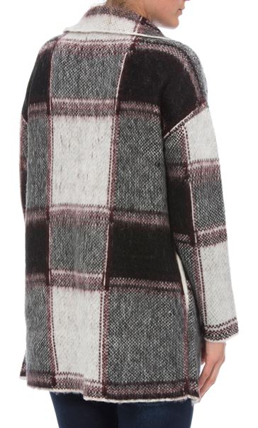 Brushed Knit Checked Open Cardigan Black/White - Gallery Image 3