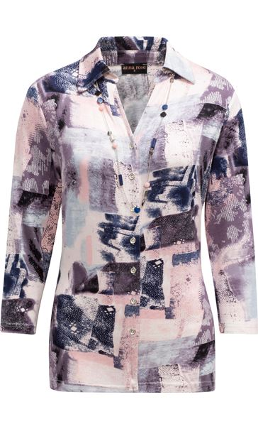 Anna Rose Printed Jersey Blouse With Necklace Pink/Grey