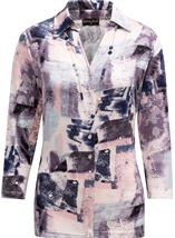 Anna Rose Printed Jersey Blouse With Necklace Pink/Grey - Gallery Image 1