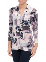 Anna Rose Printed Jersey Blouse With Necklace Pink/Grey - Gallery Image 2