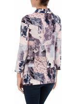 Anna Rose Printed Jersey Blouse With Necklace Pink/Grey - Gallery Image 3