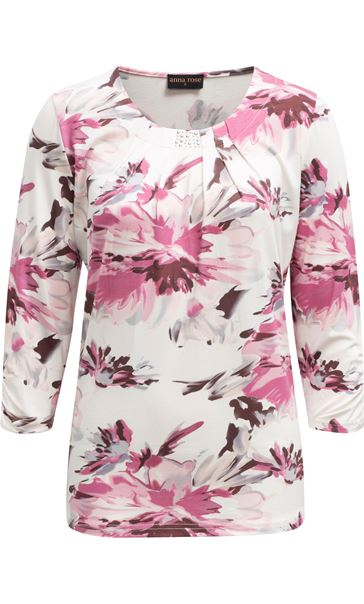 Anna Rose Pleat Neck Floral Top Ivory/Pink