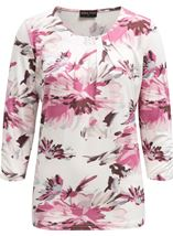 Anna Rose Pleat Neck Floral Top Ivory/Pink - Gallery Image 1