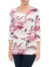Anna Rose Pleat Neck Floral Top Ivory/Pink - Gallery Image 2