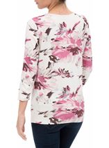Anna Rose Pleat Neck Floral Top Ivory/Pink - Gallery Image 3