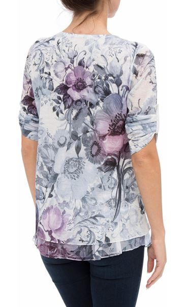 Anna Rose Embellished Lace layer Print Top White/Pink - Gallery Image 3