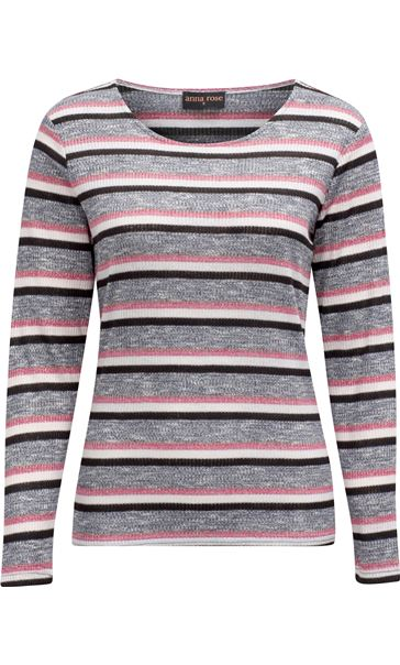 Anna Rose Stripe Knit Top Pink/Grey