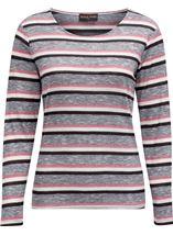 Anna Rose Stripe Knit Top Pink/Grey - Gallery Image 1