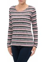 Anna Rose Stripe Knit Top Pink/Grey - Gallery Image 2