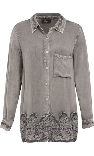 Lace Trim Long Sleeve Washed Shirt Light Grey