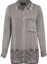 Lace Trim Long Sleeve Washed Shirt Light Grey - Gallery Image 1