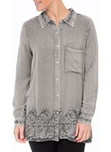 Lace Trim Long Sleeve Washed Shirt Light Grey - Gallery Image 2