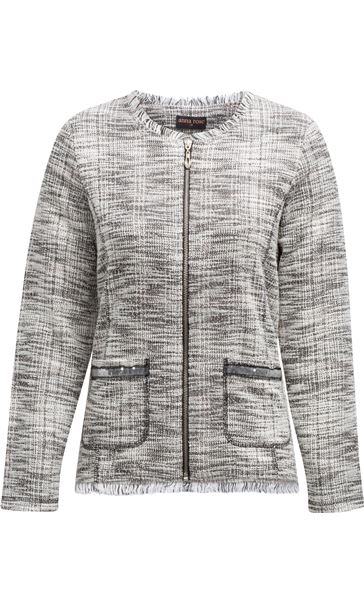 Anna Rose Raw Edge Zip Jacket Check