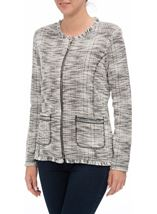 Anna Rose Raw Edge Zip Jacket Check - Gallery Image 2