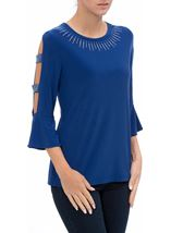 Embellished Three Quarter Sleeve Top Ocean Blue - Gallery Image 2
