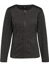 Faux Leather Trim Zip Jacket Black - Gallery Image 1