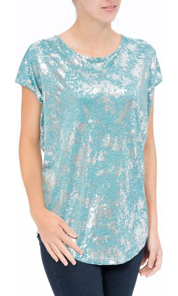 Loose Fit Foil Print Top Teal/Silver