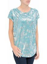 Loose Fit Foil Print Top Teal/Silver - Gallery Image 1