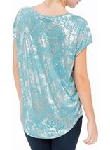 Loose Fit Foil Print Top Teal/Silver - Gallery Image 2