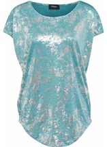 Loose Fit Foil Print Top Teal/Silver - Gallery Image 4